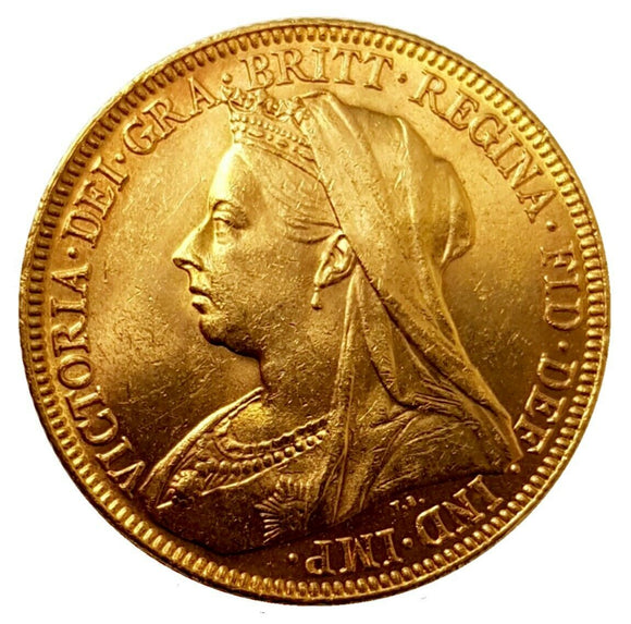1896-M Queen Victoria Widow Head Gold Sovereign (Melbourne)