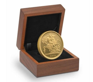 2010 Queen Elizabeth II Proof Gold Half Sovereign + Walnut Case COA