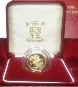 1991 Queen Elizabeth II Proof Gold Half Sovereign + Capsulated / Case