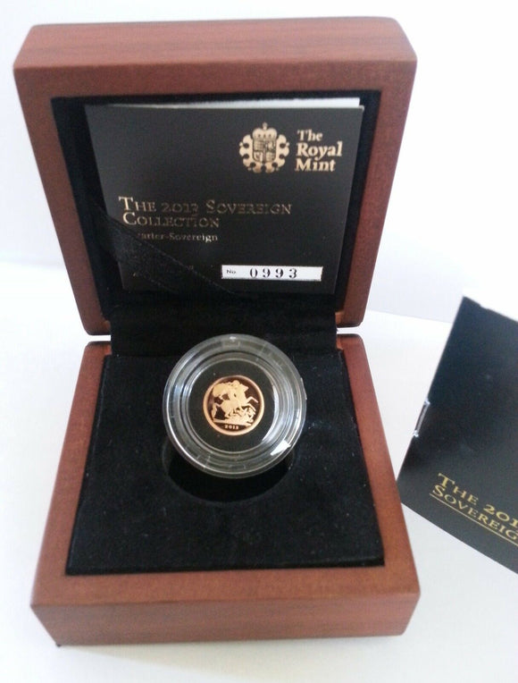 2009 Queen Elizabeth II Proof Gold Quarter Sovereign + Walnut Case COA