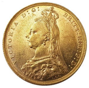 1890-M Queen Victoria Jubilee Head Gold Sovereign (Melbourne)