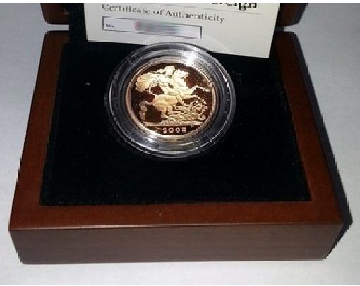 2008 Queen Elizabeth II Proof Gold Half Sovereign + Capsulated / Walnut Case COA