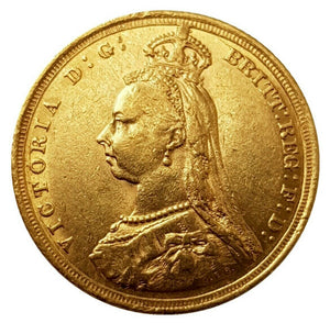1889-S Queen Victoria Jubilee Head Gold Sovereign (Very Rare 1st Head)