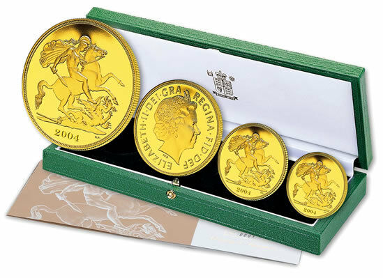 2004 Queen Elizabeth II 4 Coin Gold Sovereign Set + COA