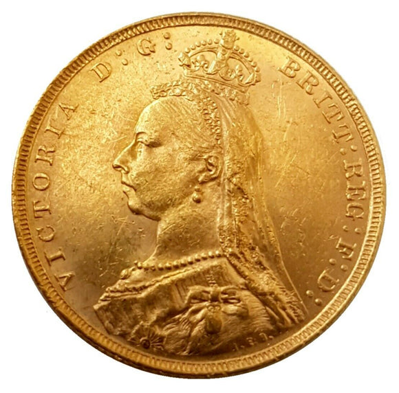 1890 Queen Victoria Jubilee Head Gold Sovereign (London)