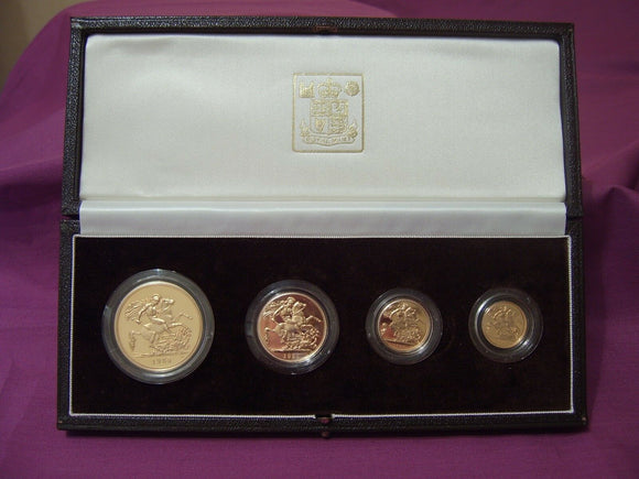 1985 Queen Elizabeth II 4 Coin Gold Sovereign Set + COA