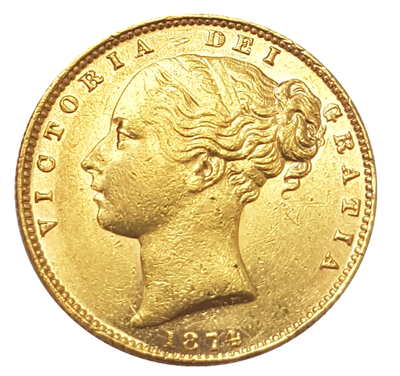 1874-M Queen Victoria Shield Reverse Sovereign - AU Example with Lustre