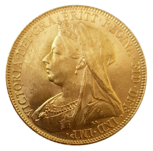 1900 Queen Victoria Widow Head Gold Sovereign (London)