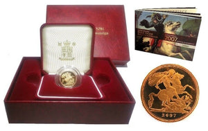 2007 Queen Elizabeth II Proof Gold Half Sovereign + Capsulated within Case / COA