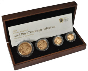 2008 Queen Elizabeth II 4 Coin Gold Sovereign Set + COA