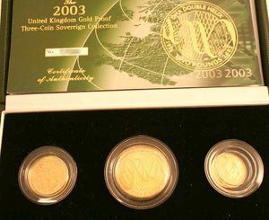 2003 Queen Elizabeth II Proof 3 Coin Gold Proof Sovereign Set + COA