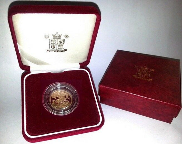1993 Queen Elizabeth II Proof Gold Half Sovereign + Capsulated / Case