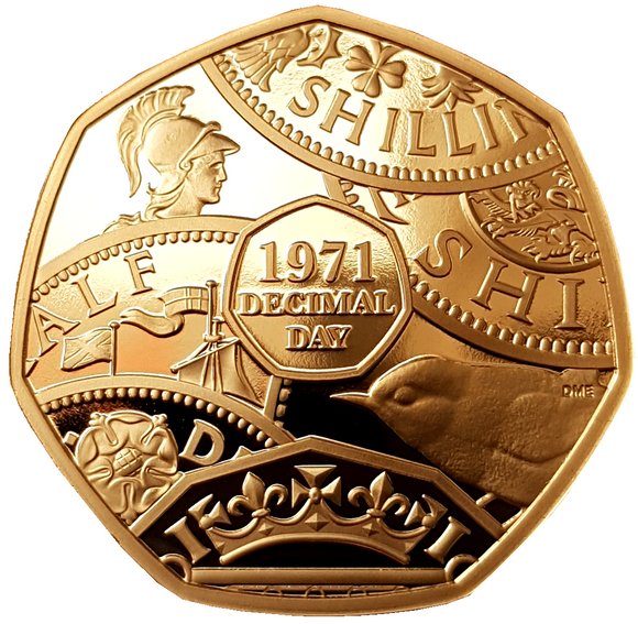 2021 50th Anniv of Decimal Day Gold Proof 50p Coin (Strike on the Day)