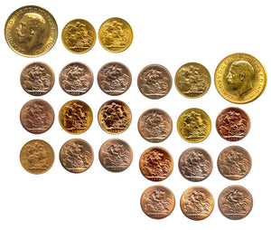 King George V Sovereigns 1911-1932 Complete date series (22 Sovereigns)