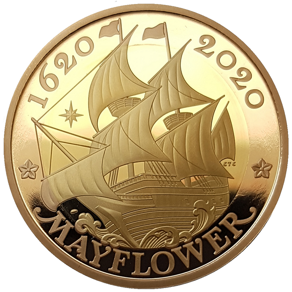 2020 Queen Elizabeth II Mayflower 2020 UK £2 Gold Proof Coin