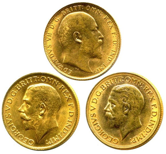 King's Sovereigns Head Type Set (3 Sovereigns)