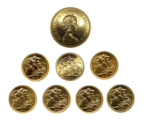 Queen Elizabeth II Decimal Sovereigns 1974-1982 Complete series (7 Sovereigns)