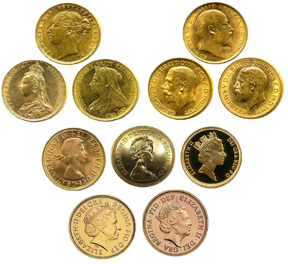 Complete King's / Queen's Sovereigns Head Type Set (11 Sovereigns)