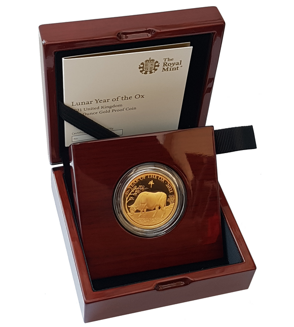 2021 Queen Elizabeth II 'Lunar Year of the Ox' 1/4 Oz - 5 Oz 999.9 Gold Proof Coins