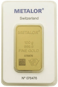 Gold Bullion Bars / METALOR 100g (gram) Ingot