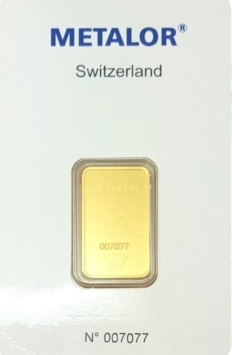 Gold Bullion Bars / METALOR 10g (gram) Ingot