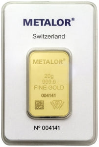 Gold Bullion Bars / METALOR 20g (gram) Ingot