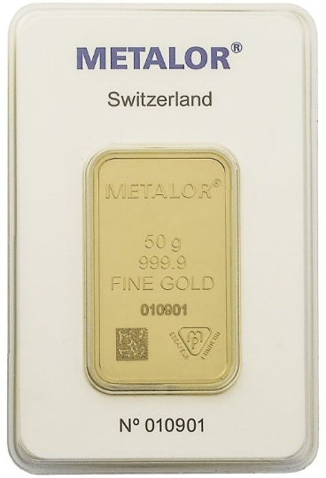 Gold Bullion Bars / METALOR 50g (gram) Ingot