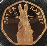 2019 Beatrix Potters Peter Rabbit Gold Proof 50P - 500 issue Limit.