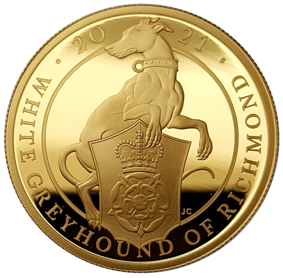 2021 Queen Elizabeth II 'White Greyhound of Richmond' 1 oz / 5 oz 999.9 Gold Proof Coin