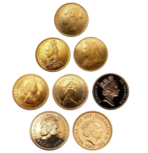 Queen's Sovereigns Head Type Set (8 Sovereigns)