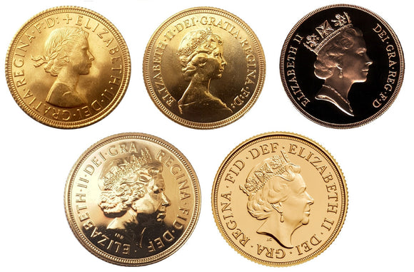 Queen Elizabeth II Sovereigns Head Type Set (4/5 Sovereigns)