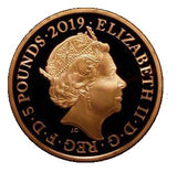 2019 Queen Elizabeth II 'The Tower Ravens' Gold Proof £5 Coin + Boxed / COA