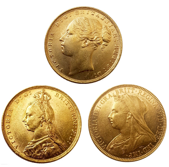 Queen Victoria Sovereigns Head Type Set (3 Sovereigns)