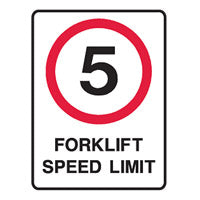 Forklift Safety Sign - 5 Fork Lift Speed Limit