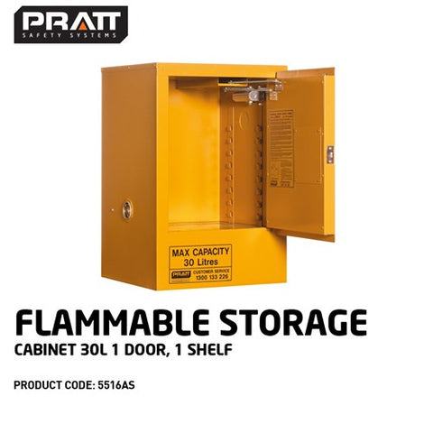 PRATT Flammable Storage Cabinet 30L 1 Door, 1 Shelf