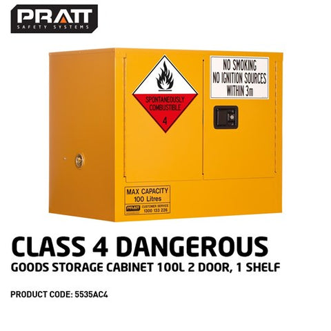 PRATT Class 4 Dangerous Goods Storage Cabinet 100L 2 Door,1 Shelf
