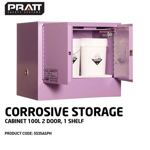 PRATT Corrosive Storage Cabinet 100L 2 Door, 1 Shelf