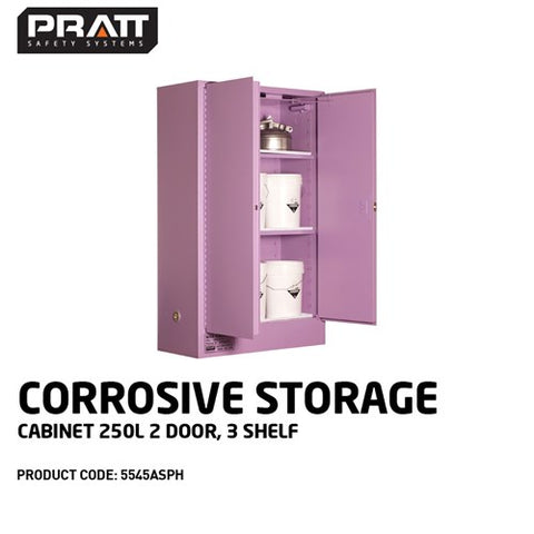 PRATT Corrosive Storage Cabinet 250L 2 Door, 3 Shelf