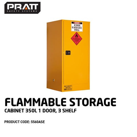 PRATT Flammable Storage Cabinet 350L 1 Door, 3 Shelf