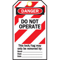 Lockout Tags - Do Not Operate (Red-White Stripe)