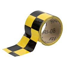 Reflective Yellow/Black Checkered Indoor Warning Tape