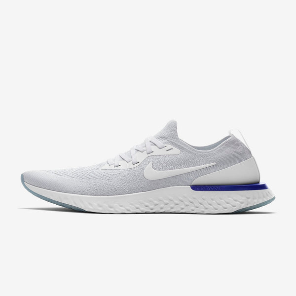 aad48406ab2d3 Women s Shoe Nike Epic React Flyknit White Racer Blue White Style  AQ0070-