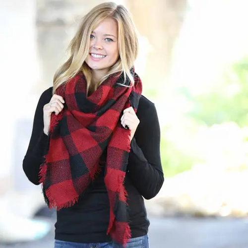 Blanket Scarf - Red/Black Buffalo Check