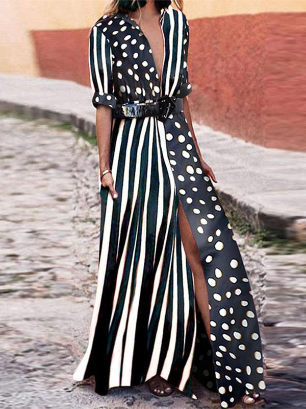 Striped Polka Dot Maxi Shirt Dress