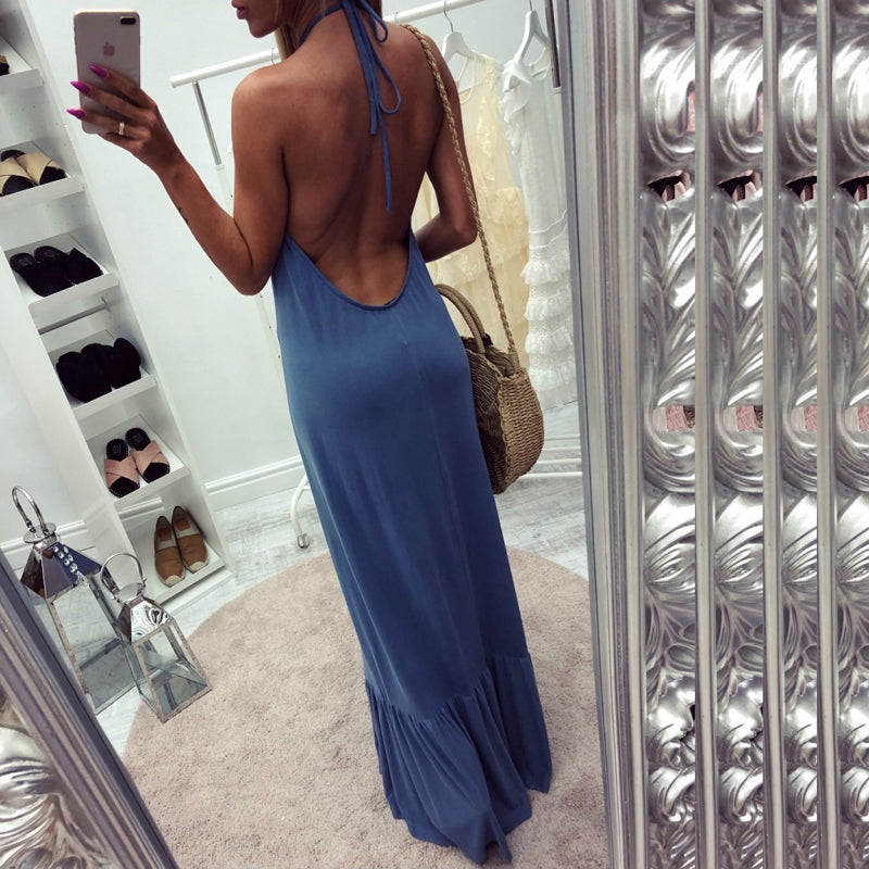 Backless Halter Long Boho Dress