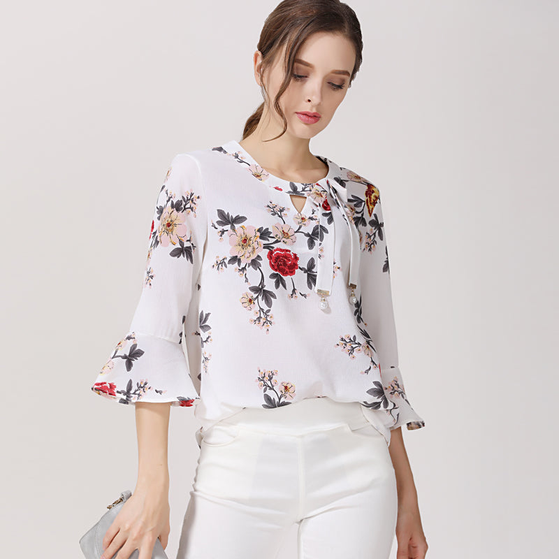 Chiffon Women Blouses Shirt Floral Flare Sleeve