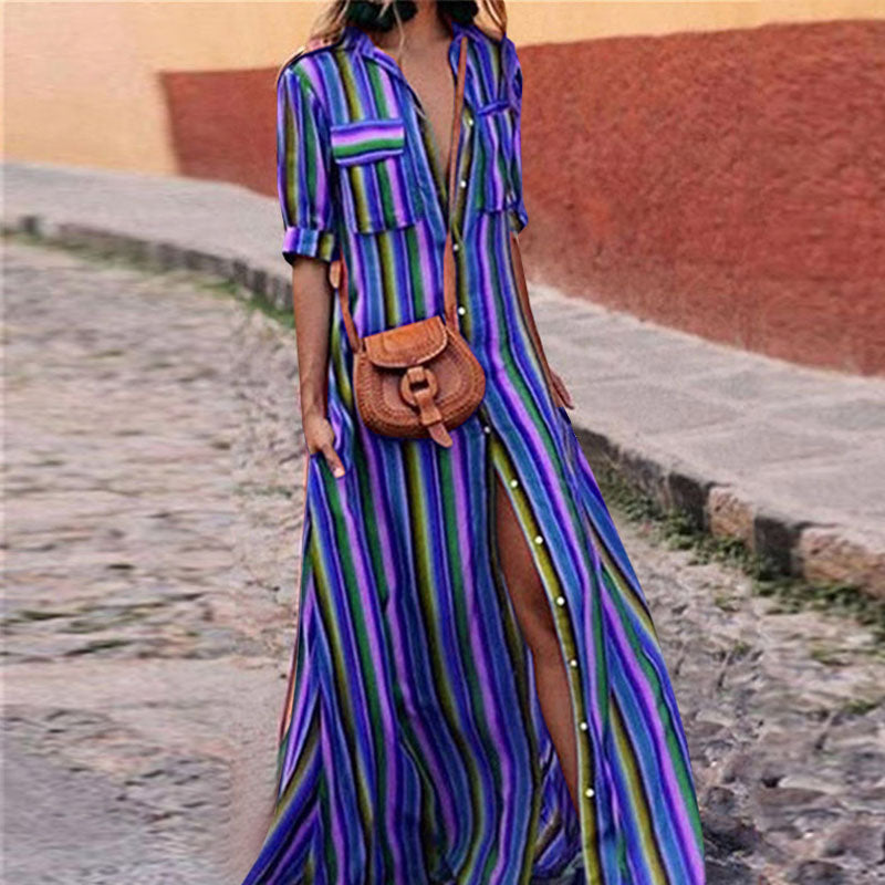 Stripped Maxi Boho Dress
