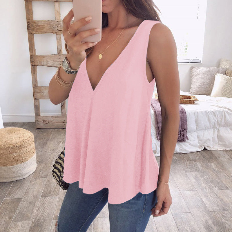 Chiffon Deep V-Neck Shirts