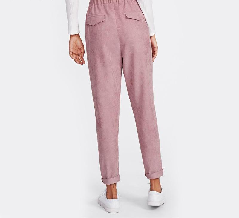 Pink Faux Flap Pocket Pants