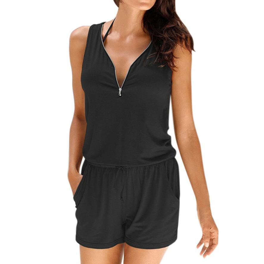 Casual Zipper Mini Jumpsuit